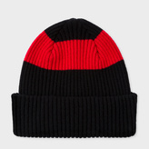 Paul Smith Men's Black Ribbed Lambswool Beanie Hat With Red Stripe