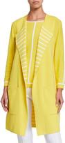 Joan Vass Contrast Stripe Long Two Pocket Sweater Vest