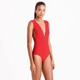 J.Crew V-neck one-piece swimsuit in Italian matte