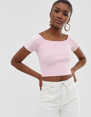 adidas off shoulder knitted tshirt in pink