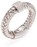 Roberto Coin Primavera 18K White Gold & 0.10 Total Ct. Diamond Wide Band Ring