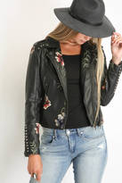 Blank Embroidered Floral Moto Jacket