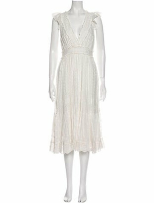 Ulla Johnson V-Neck Midi Length Dress White