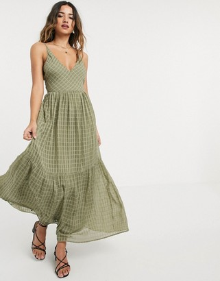 Asos DESIGN tiered cami maxi dress with open back in khaki