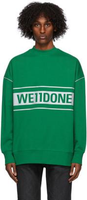 we11done Green Reflective Logo Sweatshirt