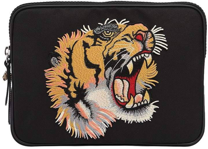 Gucci Tiger Patch Techno Canvas Tablet Holder