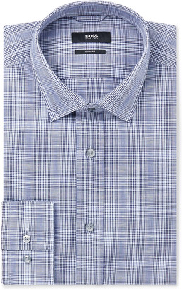HUGO BOSS Navy Slim-Fit Prince of Wales Checked Cotton and Linen-Blend Shirt - Men - Blue
