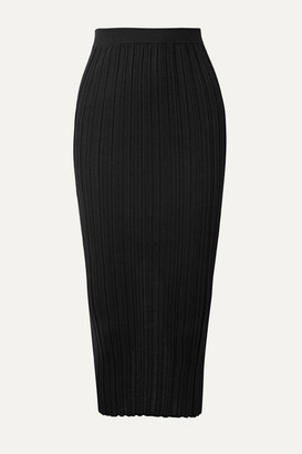 Helmut Lang Ribbed Merino Wool-blend Midi Skirt - Black