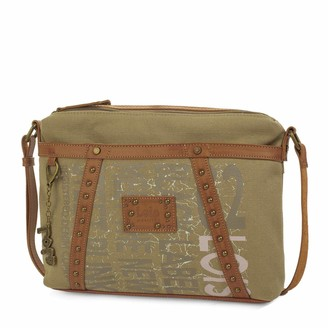 Lois Adjustable Shoulder Bag. Double Compartment with Zipper. Back Pocket with Zipper. Key-Ring. Canvas - Synthetic Leather. 91749 Color Khaki