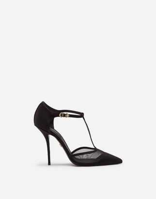 Dolce & Gabbana T-Strap Sandals In Mesh And Grosgrain