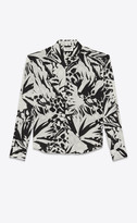 Saint Laurent Classic Shirts Cropped Shirt In Jungle Viscose Canvas Black 14
