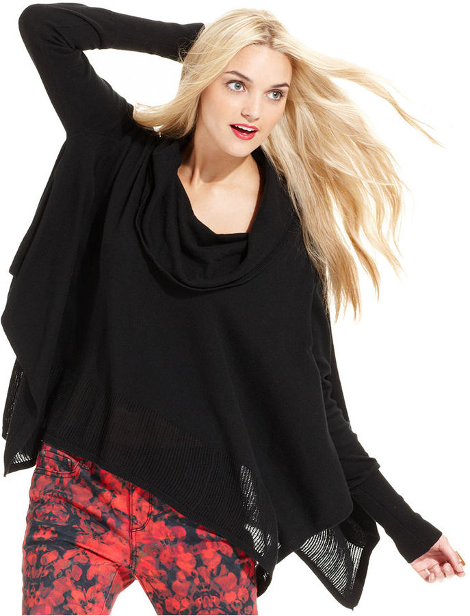 DKNY Sweater, Long-Sleeve Cowl-Neck Poncho