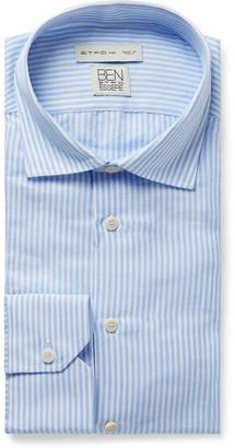 Etro Light-Blue Slim-Fit Striped Slub Cotton And Linen-Blend Shirt