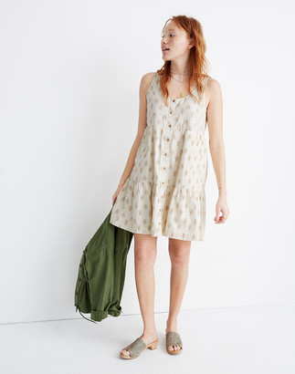 Madewell Sleeveless Button-Front Tiered Mini Dress in Ikat