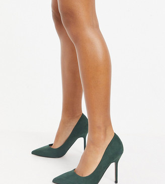 ASOS DESIGN Wide Fit Phoenix pointed high heeled pumps in forest green