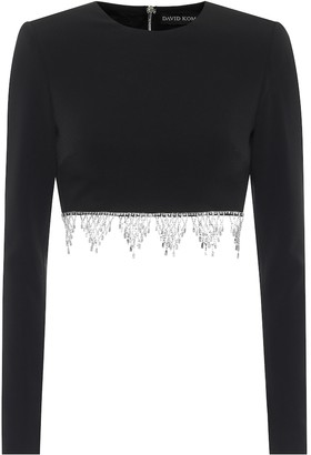 David Koma Exclusive to Mytheresa Embellished cady crop top
