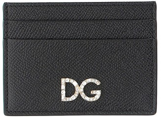 Dolce & Gabbana Black Dauphine Leather Card Holder