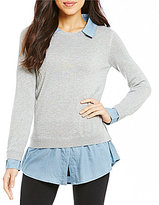 Intro Solid Sweater with Collar and Shirttail Hem Shirt