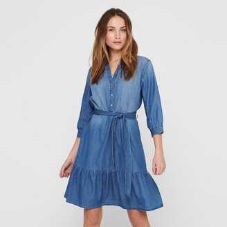 Jacqueline De Yong Denim Tie-Waist Dress with 3/4 Length Sleeves