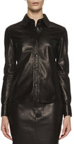 Tom Ford Perforated Leather Blouse, Black