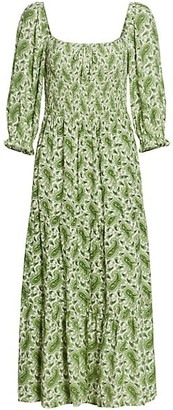 Faithfull The Brand Le Desert Le Galet Paisley Smocked Midi Dress