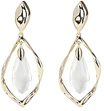 Alexis Bittar Crumpled Metal Framed Lucite Detail Clip-On Earrings