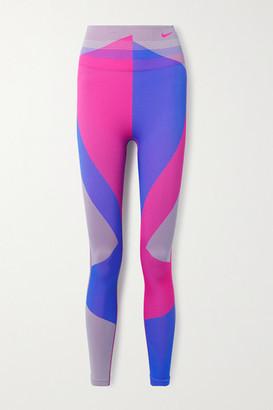 Nike Icon Clash Color-block Dri-fit Stretch-knit Leggings - Purple