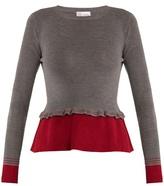 RED Valentino Peplum contrast-hem wool sweater