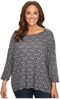Nally & Millie Plus Size Printed Ribbed Top