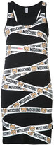 Moschino teddy tape bodycon tank dress - women - Cotton/Spandex/Elastane - XS