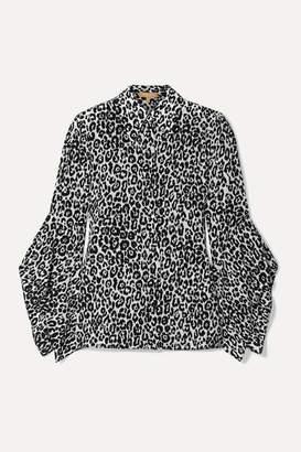 Michael Kors Leopard-print Silk Crepe De Chine Blouse - Black