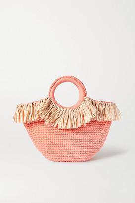 MIZELE Sun Mini Raffia-trimmed Crocheted Cotton Tote - Orange