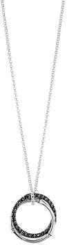 John Hardy Sterling Silver Bamboo Lava Medium Interlink Pendant Necklace with Black Sapphires, 16