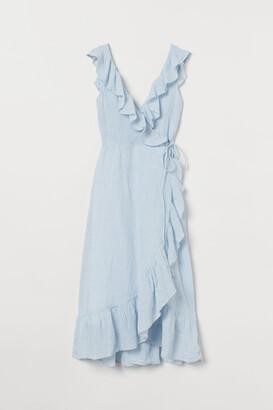 H&M Flounce-trimmed Cotton Dress - Blue