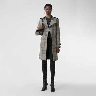 Burberry Prince of Wales Check Wool Trench Coat