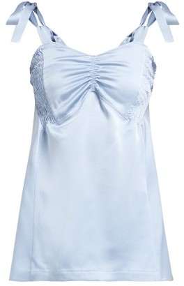 colville Smocked Panel Satin Top - Blue