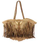 En Shalla Tan Straw Woven Fringe Trim Medium Tote Handbag