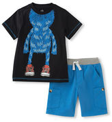 Kids Headquarters Boys 2-7 Little Boys Monster Tee and Knit Shorts Set
