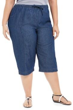 Karen Scott Plus Size Cotton Denim Capri Pants, Created For Macy's