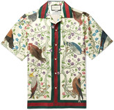 Gucci Camp-Collar Printed Silk Shirt