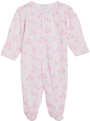 Kissy Kissy Girl's Glitter Swan's Printed Footie Pajamas, Size Newborn-9M