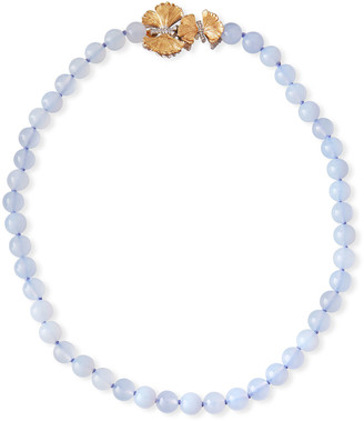 Michael Aram Butterfly Ginkgo Chalcedony Necklace w/ Diamonds