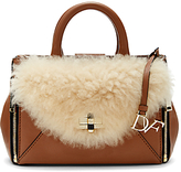 Diane von Furstenberg Mini Secret Agent Leather And Shearling Tote