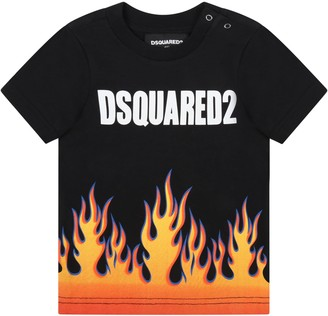 DSQUARED2 Black T-shirt For Babyboy With Flames