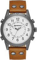 Arizona Mens White Dial Cognac Strap Watch