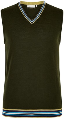 Mg Rivers Olive Green Extrafine Merino Tank Top