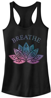 Fifth Sun Women's Tank Tops BLACK - Black 'Breathe' Lotus Galaxy Racerback Tank - Women & Juniors
