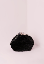 Missguided Black Faux Fur Chain Strap Clutch Bag