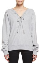 Saint Laurent Lace-Up Sweatshirt, Gris Chine