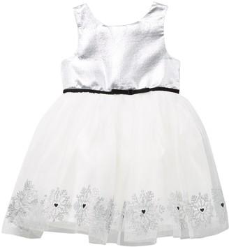 Zunie Printed Glitter Bodice Mesh Hem Dress (Toddler Girls)